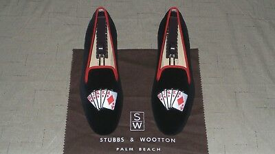"CUTE! Women's $450 Stubbs and Wootton Velvet ""ROYAL FLUSH"" Slippers Loafers Shoe for sale  Shipping to Canada"