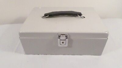 Lock Cash Box Steel Portable Security Money Drawer Tray Safe Metal Storage