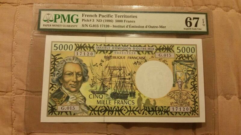 1996 French Pacific Territories 5000 Francs  PMG 67 EPQ UNC
