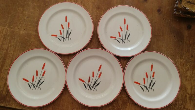 "Lot 5 RARE Vintage Sears & Roebuck China Red Cattail 6 1/8"" Bread Butter Plates"