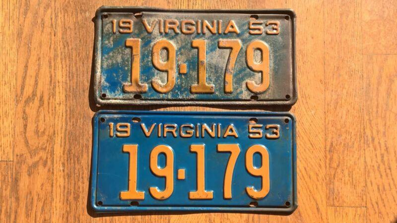 1953 Virginia License Plates Tags Pair VA
