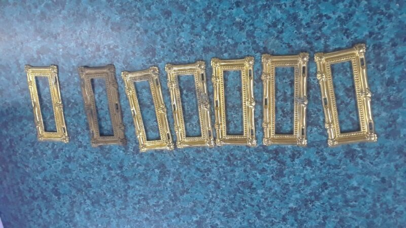 LOT OF 7 VICTORIAN STAMPED BRASS DRAWER LABEL FRAMES ORNATE APOTHACARY HOLDER