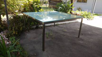 Glass and aluminium square 8 seater dining table