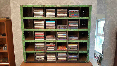 pigeon hole storage cabinet vintage industrial CD rack metal shelving salvage
