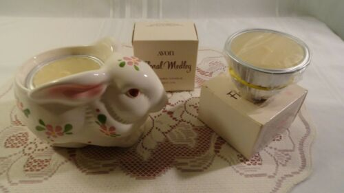 AVON DAISEY BUNNY  FLORAL MEDLY CANDLE HOLDER W/2 PERFUMED CANDLES HAND CRAFTED
