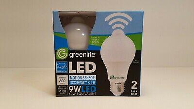 LED MOTION SENSOR ENERGY SAVING BULBS 2 PACK 9W (60W EQUIVALENT) - 800 LUMENS