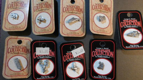 Mini pewter wildlife hat/lapel pin collection