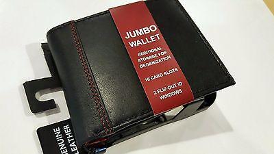 NEW WALLET JUMBO RFID GEORGE MEN'S GENUINE BIFOLD BLACK LEATHER 16 CARD SLOTS