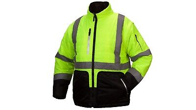 Pyramex Hi-Vis Class 3 quilted polyfill 4 in 1 Reversible Jacket ROAD WORK M-5XL