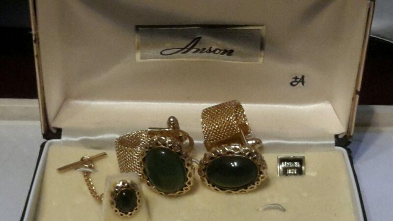 Vintage Anson Genuine Jade Gold Filled Tie Tac And Cufflinks