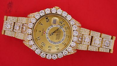 Rolex Sky-Dweller Yellow Gold 326938 Huge Bezel Fully Iced Out 35 Carat Diamonds
