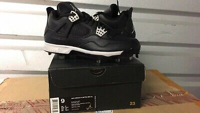 Nike Air Jordan IV 4 Retro Metal Baseball Cleats Black -