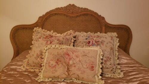 Antique French Double Caned hand carved bed with original siderails