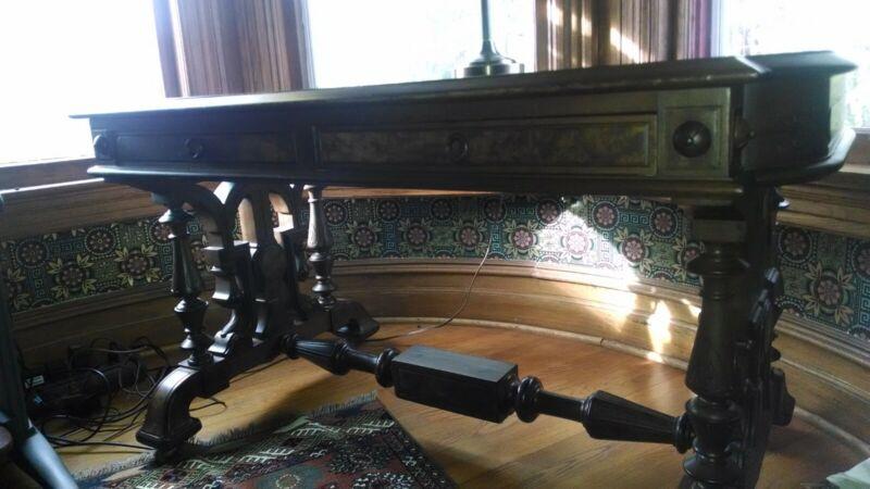 Victorian burl walnut, two drawer desk w/ leather top