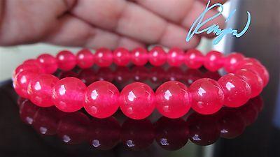"Genuine Strawberry PINK Bead Bracelet for Men or Women Stretch 8mm - 7.5"" AAA"