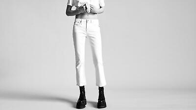 R13 Allison Crop Jeans Garret White New MSRP $345 Cotton Blend