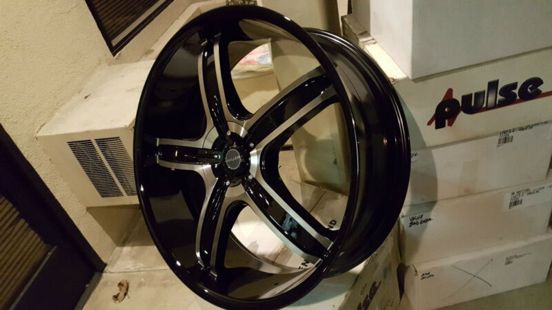 26 Inch Akuza 844 Black Machine Wheels Rims & Tires Fit 5x115  5x127