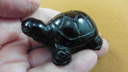 (Y-TUR-LAO-752) Black Onyx TURTLE tortoise carving FIGURINE gemstone turtles