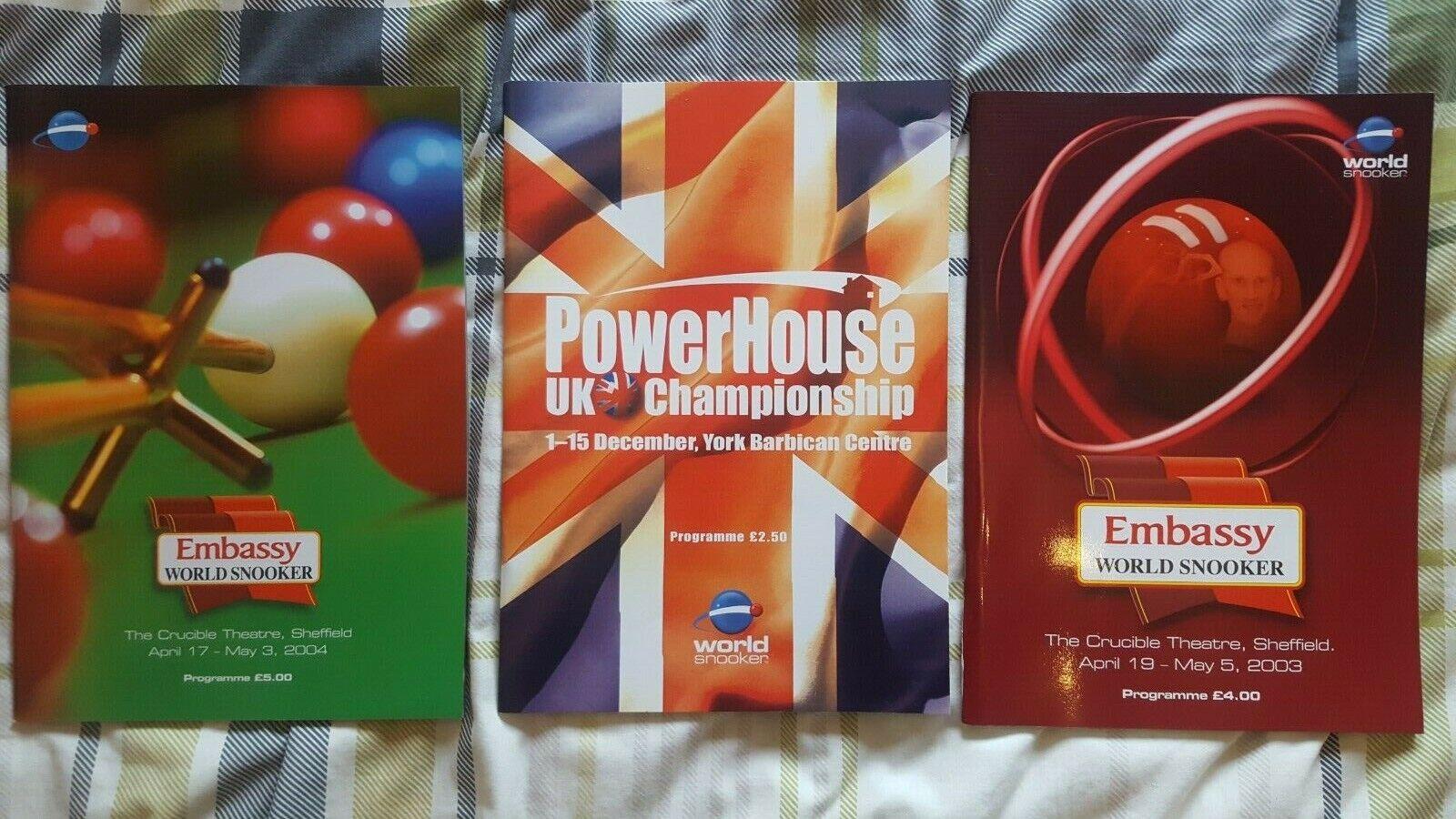 *3 x World Snooker Programmes 2003 + 2004 Worlds + 2002 UK Champs*