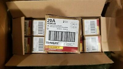 Square D Hom220 Homeline 2 Pole 20 Amp Plug-on Circuit Breaker Box Of 5