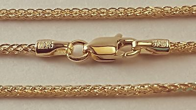 "14 k Solid Yellow Gold 1.25mm Square Wheat  Chain Necklace 16"",18"",20"",22"",24""."