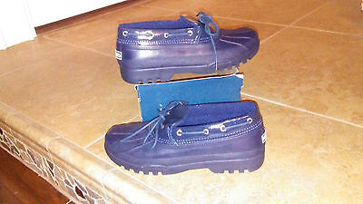 NEW $69 Womens Sperry Duckling Navy Rain Shoes, size 6.5 waterproof rubber
