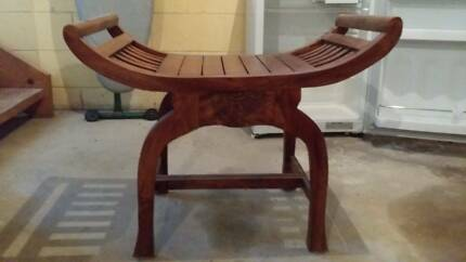 Single Solid Teak Occasional Balinese casual Stool/chair Moffat Beach Caloundra Area Preview