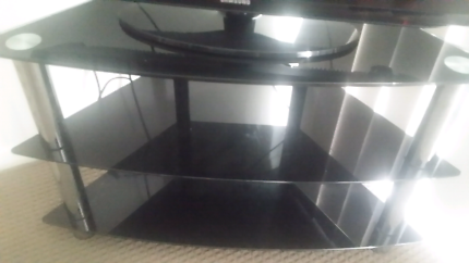 Black Glass TV Cabinet For Sale