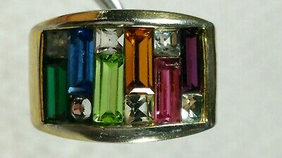 sz 7.25+  MULTI COLOR MODERNIST ABSTRACT 18K HGE GOLD VERMEIL RING 8g