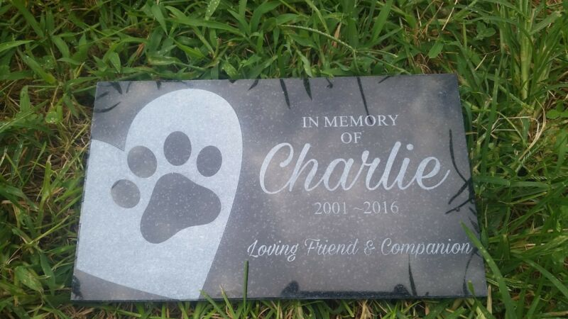 Personalized Pet Stone Memorial Grave Engraved Marker 6x10 Heart paw print 2