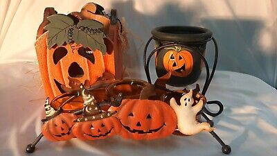 Halloween Candle Holders Lot of 3 Pumpkin Theme - Cute Pieces!
