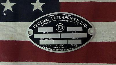 Federal Enterprises Air Raid Civil Defense Siren Oval Id Plate