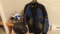 NJC Motorcycle Jacket. and Two Helmets