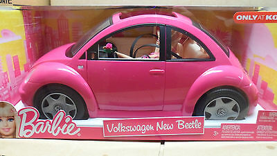 BARBIE AND HER NEW HOT PINK VW BEETLE...NRFB