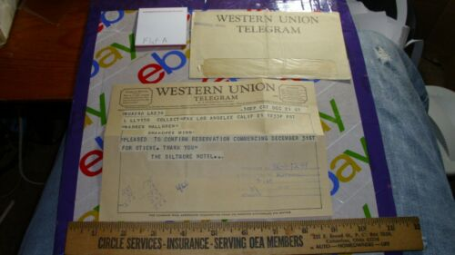 WESTERN UNION Telegram Biltmore Hotel warren hallgren Los Angeles California