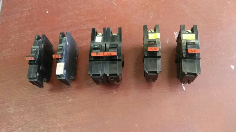 Lot of 5 Federal Pacific Electric Circuit Breakers
