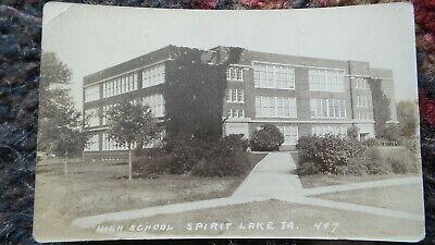 Antique Vintage RPPC, SPIRIT LAKE, IOWA High School, #497