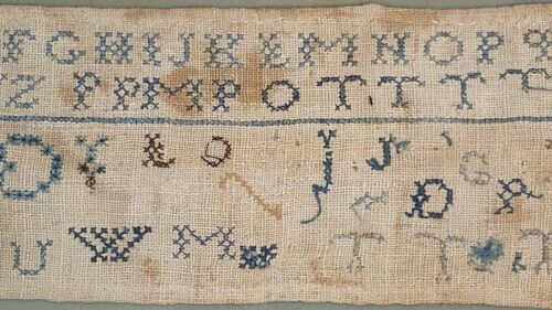 18th C. Early American Needlepoint Alphabet Sampler. Preserved In Antique Frame
