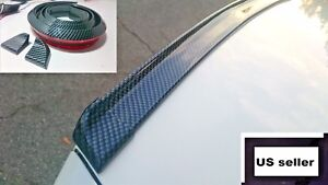 1 x Universal Glossy Carbon Fiber Trunk Spoiler Wing Rear Roof Tail Lip Trim 3D