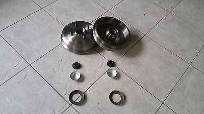 FORD FIESTA MK 6 02-08 TWO REAR BRAKE DRUMS FITTED BEARINGS ABS RINGS LOCK NUTS