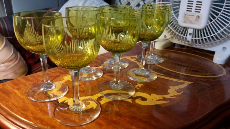 Set Of 7 green to clear 1930s deco Glass Sherry Short Wine Stems