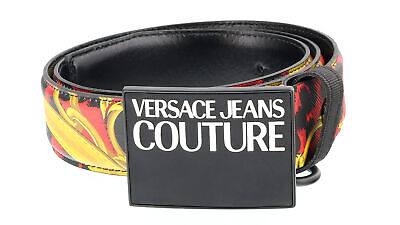 Versace Jeans Couture Red/Black  Baroque Print Adjustable Leather Belt