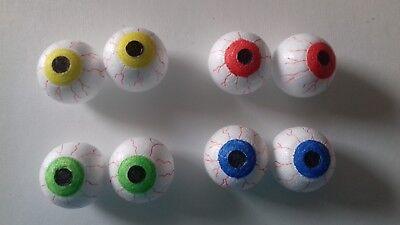 4 Augen Augapfel Glubschaugen Halloween 2 Paar Grusel Deko 3/4cm 4Farben/2Größen