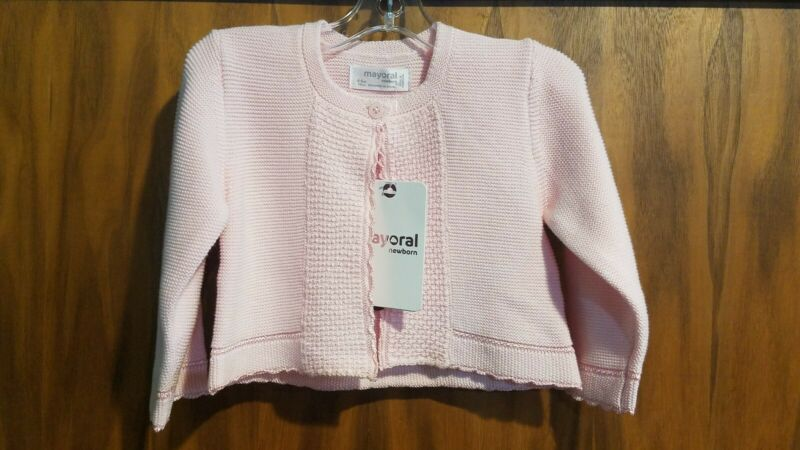 New Spanish boutique Mayoral pink cotton blend cardigan sweater,4-6 mo,NWT