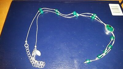 Silver Coloured Green Beaded Costume Jewellery Necklace