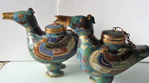 PAIR ANTIQUE CHINESE ARCHAIC BIRDS CLOISONNE ORNATE JARS W/TURQUOISE GLAZE #2