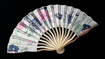 BEAUTIFUL POLYESTER AND BAMBOO FAN - BLUE FLORAL.