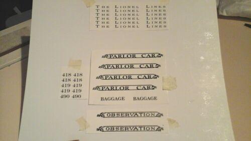 LIONEL STANDARD SCALE 418-419-490 BLACK WATERSLIDE DECAL PASSENGER CAR SET LOOK!