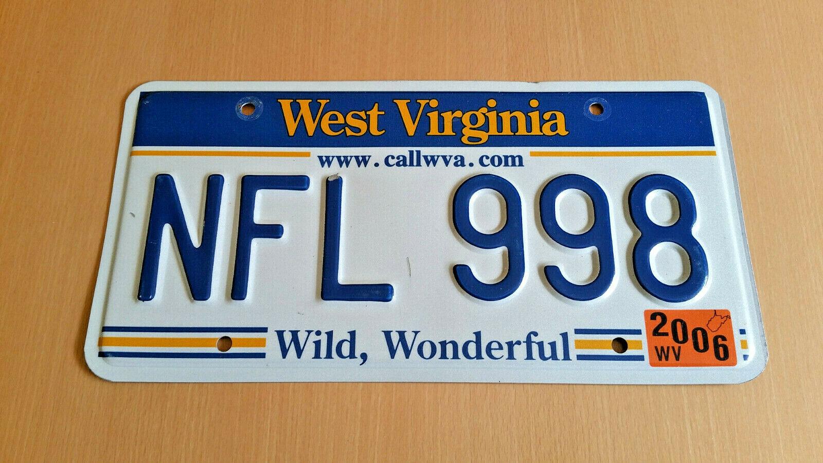 WEST VIRGINIA USA Nummernschild Kennzeichen License Plate (NFL-Kombination)