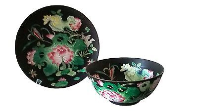 Macau Hand Pained Lotus Flower Black Bowl and Plate Asian Oriental Set of 2 ()